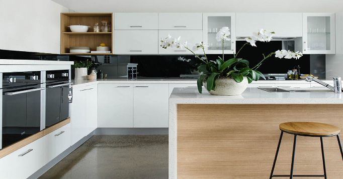 White Kitchen with wooden features