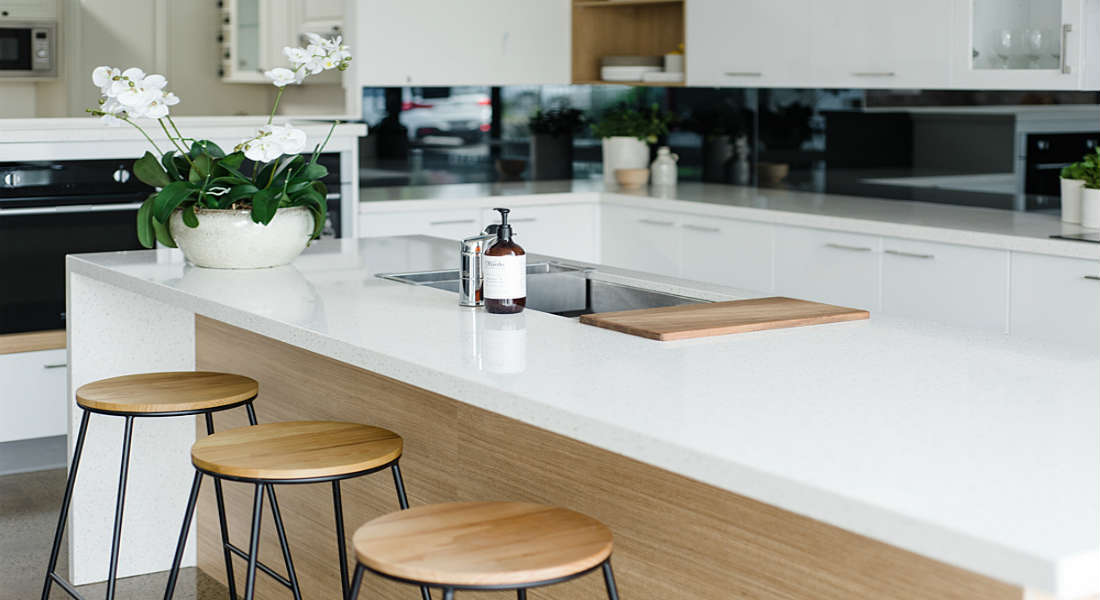 modern kitchen with an island benchtop
