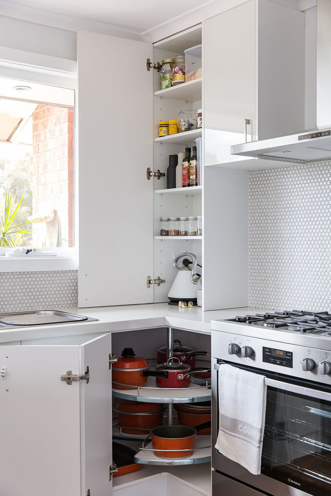 Pantry and lazy susan cabinetry