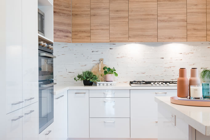 White and timber laminate flatpack cabinetry
