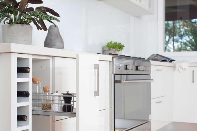 Spice Rack in white kitchen