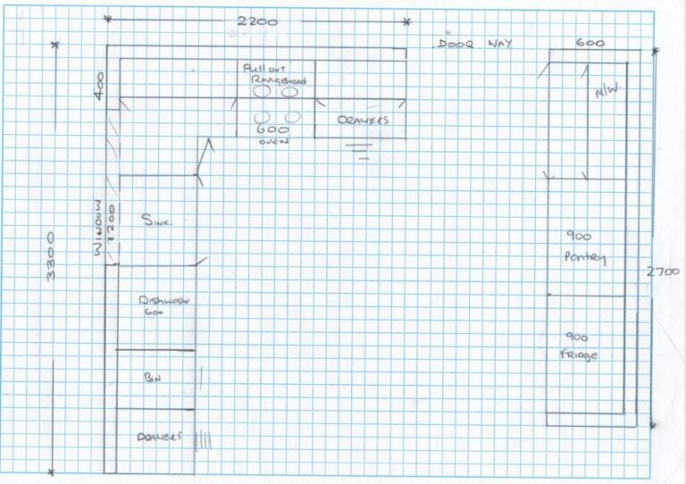 Kitchen sketch with measurments