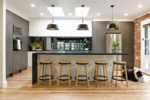 White and timber laminate kitchen