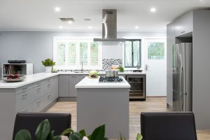 U Shape kitchen with large island in the centre