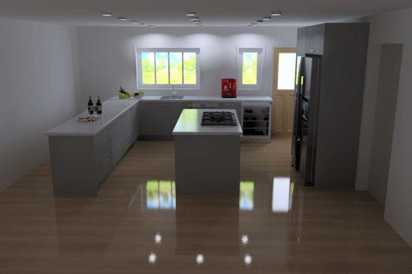 3D Render displaying grey kitchen renovation