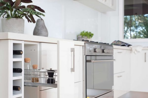 Spice Rack in white kitchen