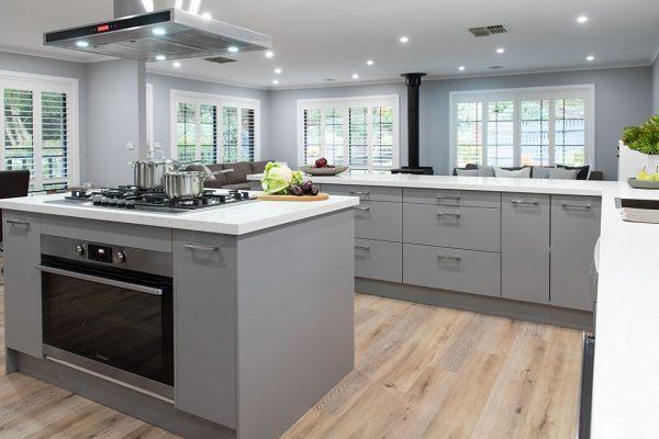 Grey cabinetry kitchen renovation