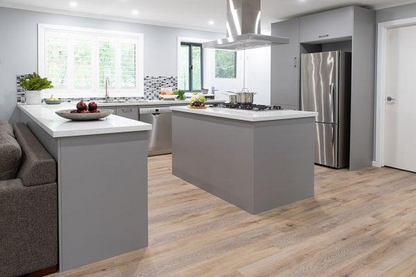 Large island bench grey kitchen