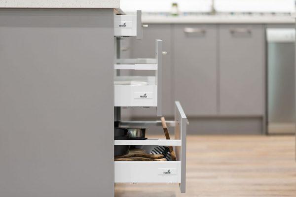 Pot drawers grey kitchen renovation