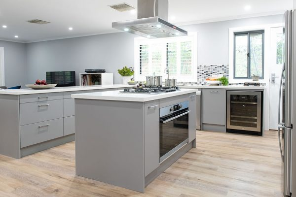 U shaped grey kitchen